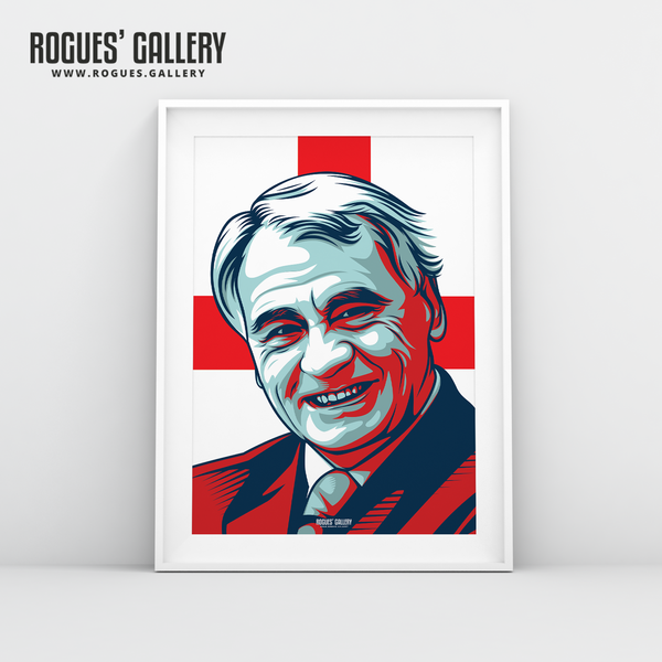Sir Bobby Robson England manager boss World cup edits Three Lions legend A3 art legend Barcelona