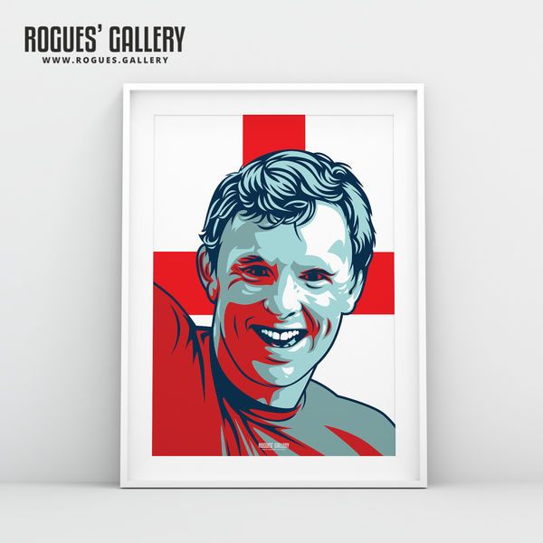 Bobby Moore Three Lions World Cup 1966 winner A3 art print edits