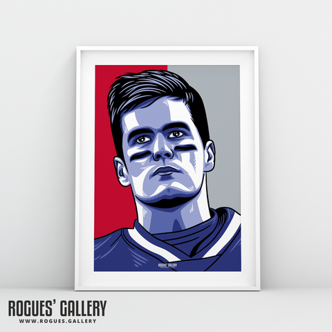 Tom Brady New England Patriots Quarter Back NFL edit A3 Print