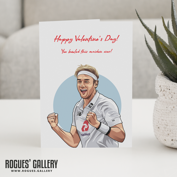 Stuart Broad England Cricket Valentine's Day Card maiden over bowler