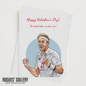 Stuart Broad England Cricket Valentine's Day Card maiden over