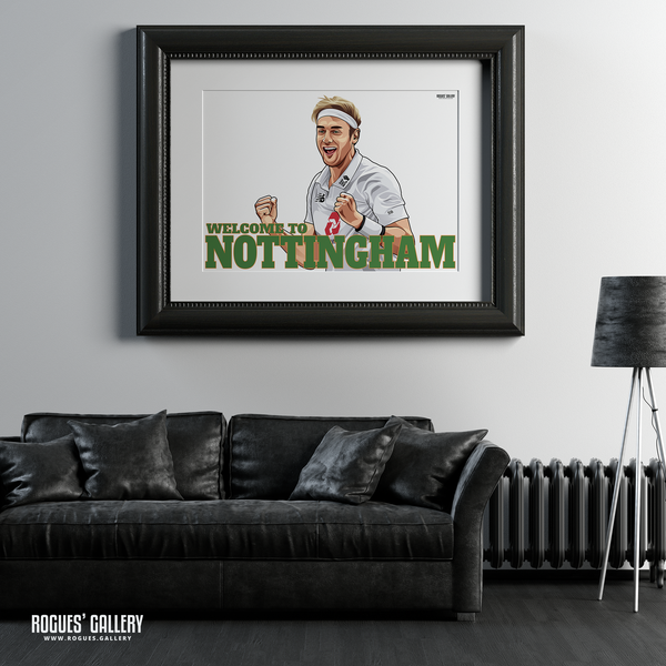 Stuart Broad Welcome To Nottingham Notts CCC Trent Bridge cricketer bowler England Barmy Army 500 wickets A1 art print great