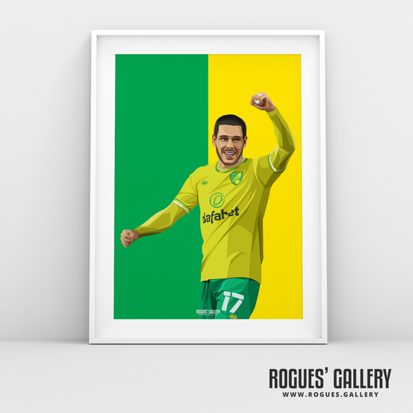 Emiliano Buendia Norwich City midfielder NCFC Carrow Road A3 icon print