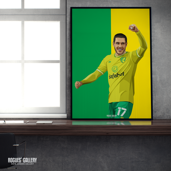 Emiliano Buendia Norwich City midfielder NCFC Carrow Road A1 icon print