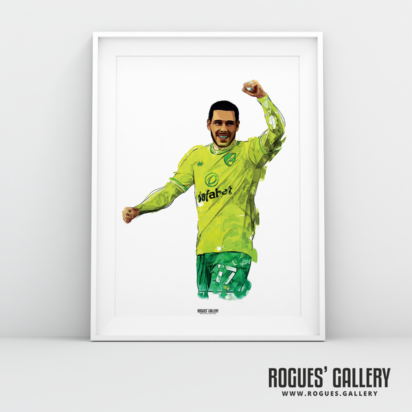 Emiliano Buendia Norwich City midfielder NCFC Carrow Road A3 arty print