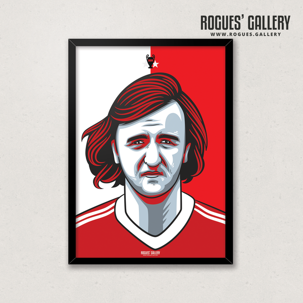 Kenny Burns Nottingham Forest centre half Kenneth Scottish A3 print edit design