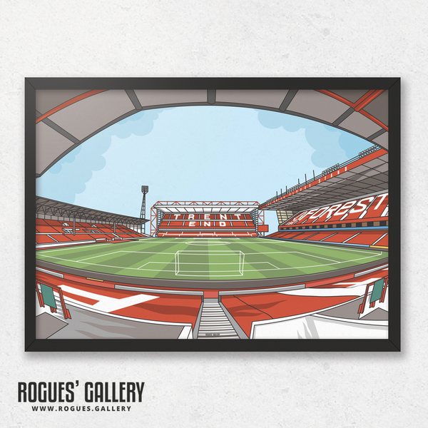 The City Ground home of Nottingham Forest NFFC Brian Clough Trent End Stadium A3 print artwork