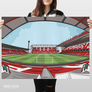 The City Ground home of Nottingham Forest NFFC Brian Clough Trent End Stadium poster edit gift