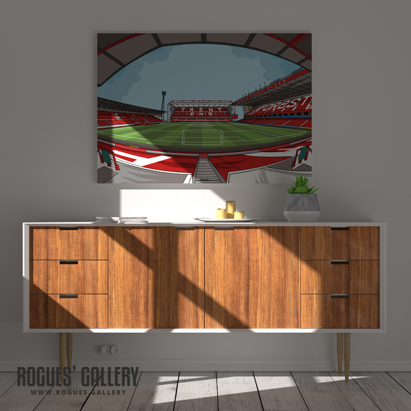 The City Ground home of Nottingham Forest NFFC Brian Clough Trent End Stadium A3 print artwork Robbo Psycho signed
