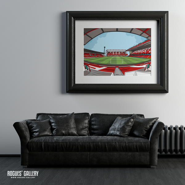 The City Ground home of Nottingham Forest NFFC Brian Clough Trent End Stadium A1 print artwork