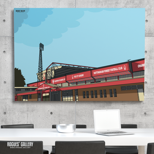 Nottingham Forest car park The City Ground Trent End Peter Taylor Stand A3 print