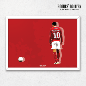 Joao Carvalho Nottingham Forest A3 Print Poster artwork red free kick
