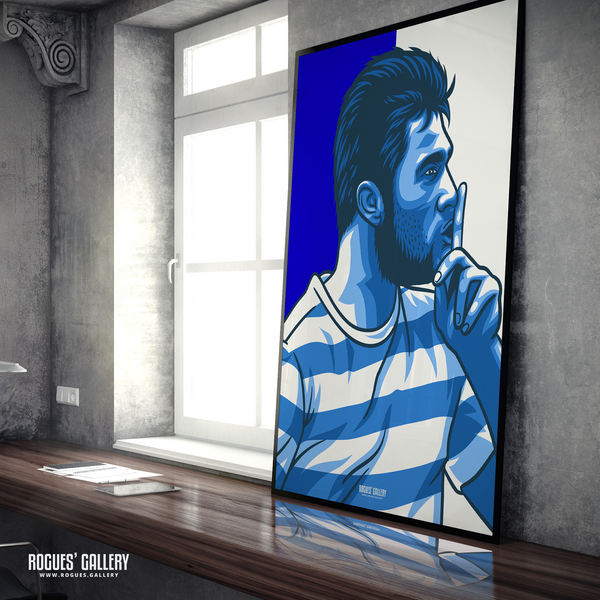 Charlie Austin QPR Loftus Road Queen Park Rangers Commission striker goals icon A0 poster