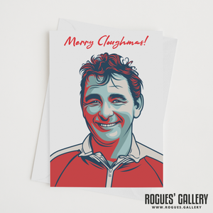 "Brian Clough Nottingham Forest Manager Merry Cloughmas Xmas Christmas card 6x9"" NFFC"