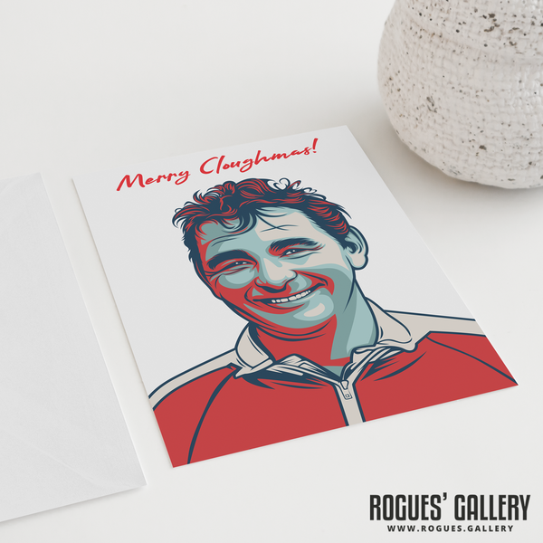"Brian Clough Nottingham Forest Manager Merry Cloughmas Xmas Christmas card 6x9"" NFFC City Ground"