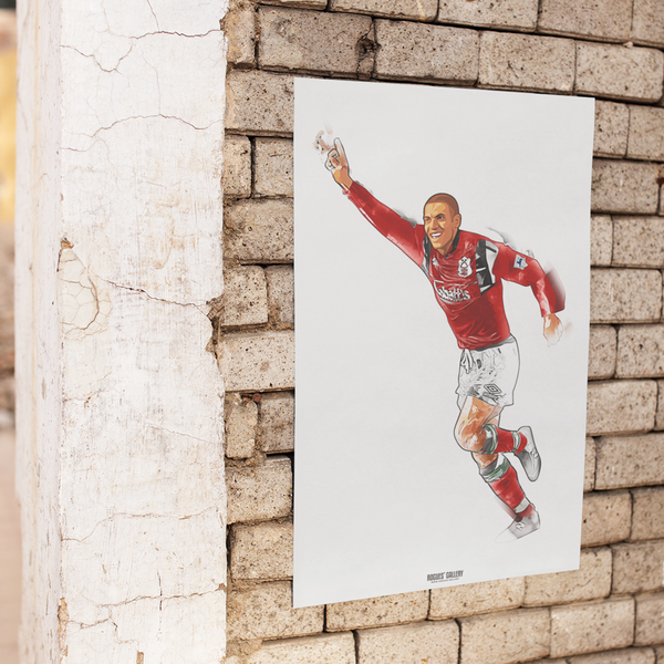Stan Collymore Nottingham Forest Striker art print A3