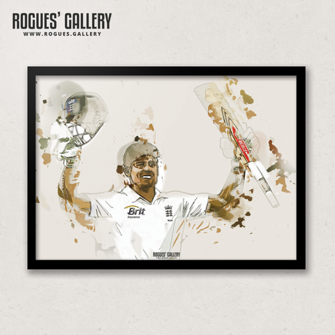Alastair Cook England opening batsman art print A3 edit