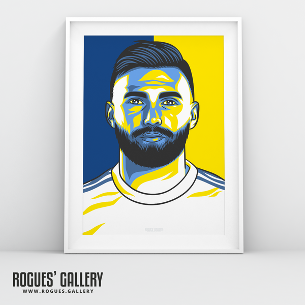 Stuart Dallas Leeds United LUFC A3 art print Edits Elland Road full back Irish defender