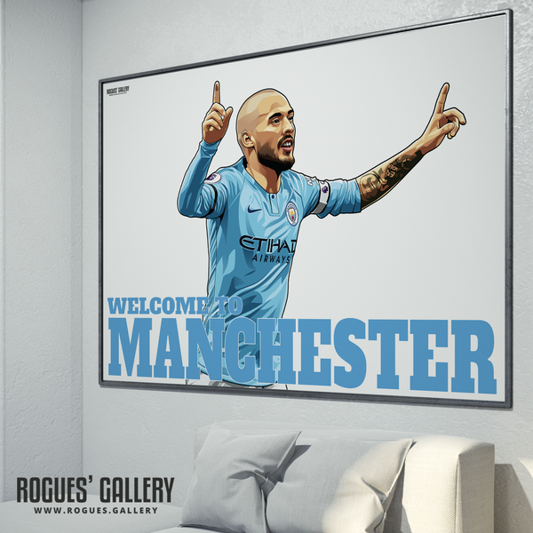 David Silva Manchester City Maine Road MCFC Sky Blues A3 Print Welcome To Limited Edition