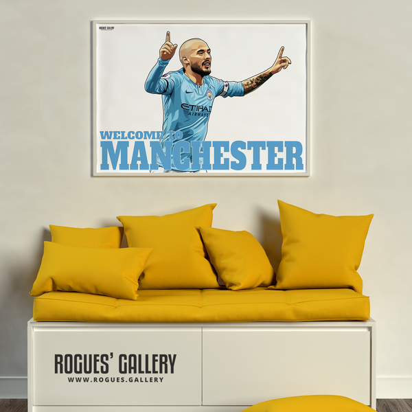 David Silva Manchester City Maine Road MCFC Sky Blues A3 Poster