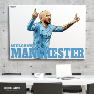 David Silva Manchester City Maine Road MCFC Sky Blues A0 Print Welcome