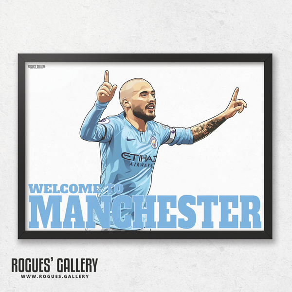 David Silva Manchester City Maine Road MCFC Sky Blues A3 Print Welcome