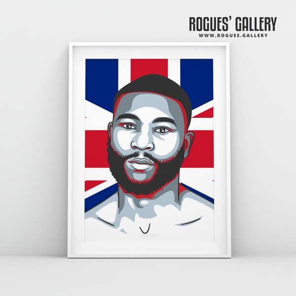Derrick Delboy Osaze Nottingham Boxing Union Jack Flag A3 print edit champion