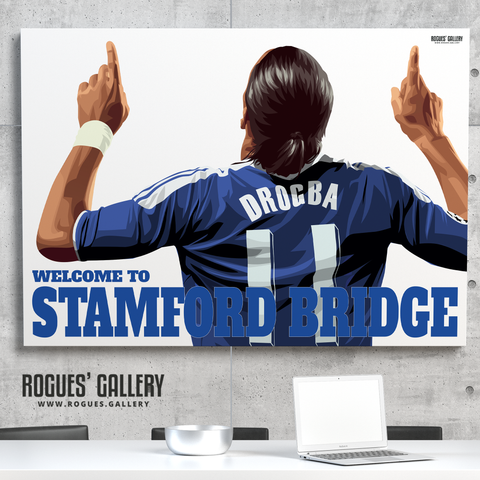 Didier Drogba Chelsea Welcome To Stamford Bridge striker shirt name Ivory Coast goals A3 print gift signed