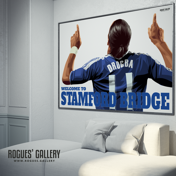 Didier Drogba Chelsea Welcome To Stamford Bridge striker shirt name Ivory Coast goals A0 print