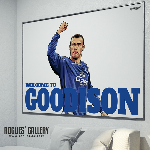 Duncan Ferguson Everton Welcome To Goodison Park striker goals poster