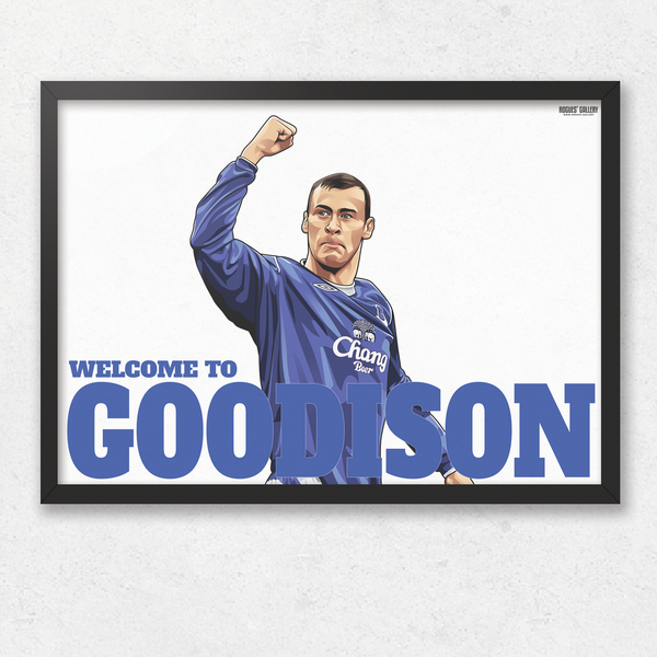 Duncan Ferguson Everton Welcome To Goodison Park striker goals A3 print