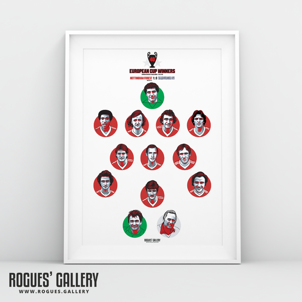 Nottingham Forest European Cup Team 1980 Get Behind The Lads A3 Print 40th Anniversary