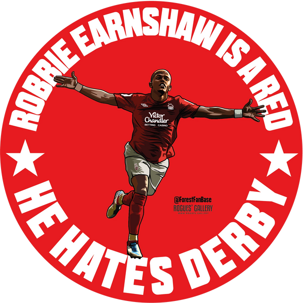 Robbie Robert Earnshaw Nottingham Forest Retro is a red he hates Derby sticker