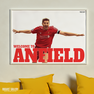 Steven Gerrard Liverpool FC LFC captain midfielder The Kop England Three lions Welcome To Anfield legend A0 Print