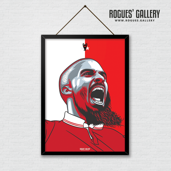 Lewis Grabban Nottingham Forest City Ground striker goals A3 print edit