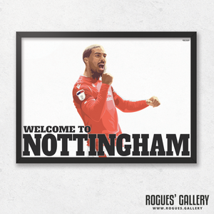 Lewis Grabban Nottingham Forest City Ground striker goals A3 print edit Welcome To Nottingham