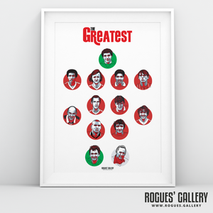 Nottingham Forest Greatest Ever Team #GetBehindTheLads A3 art print Rogues Gallery City Ground Brian Clough