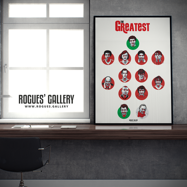 Nottingham Forest Greatest Ever Team #GetBehindTheLads A0 art print Rogues Gallery Robbo Psycho Steve Stone Des Walker Shilton Burns