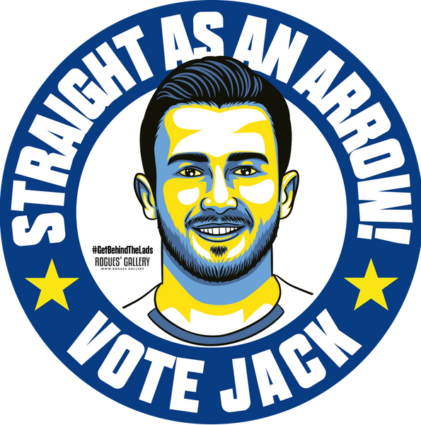 Jack Harrison Leeds United midfielder beer mats Vote #GetBehindTheLads