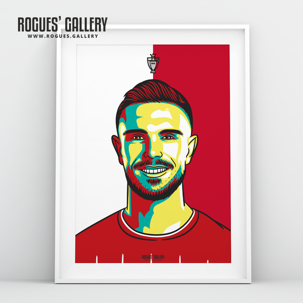Jordan Henderson midfielder Liverpool FC Anfield Art print A3 Champions Limited Edition captain winners title