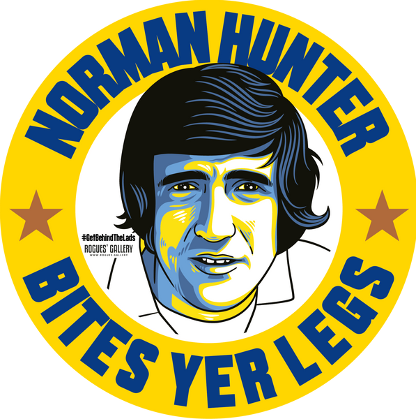 Norman Hunter Leeds United defender bites yer legs campaign stickers Edits