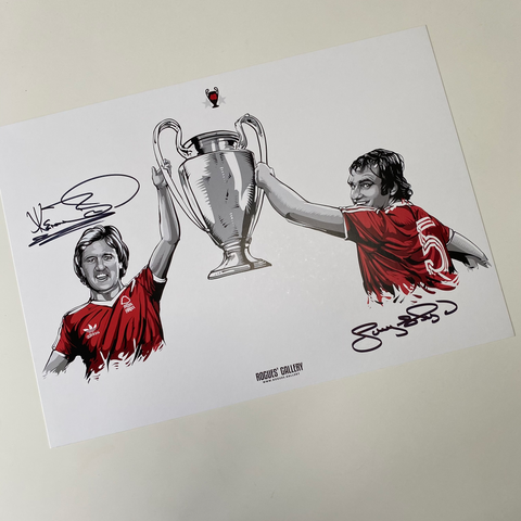 Larry Lloyd Kenny Burns Nottingham Forest centre halves Miracle Men City Ground European Cup winners signed limited edition A3 print 40th anniversary