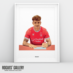 Jack Colback Nottingham Forest City Ground midfielder A3 print signing