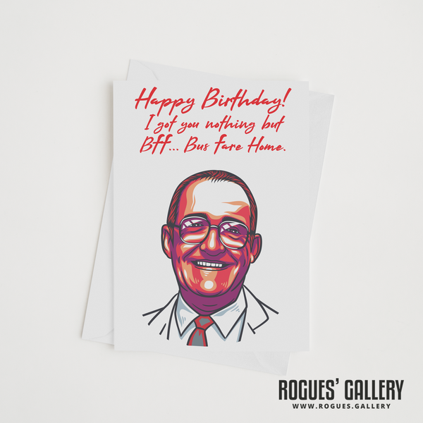 Jim Bowen Dart TV Bullseye gameshow Tony ITV retro Birthday Card BFF