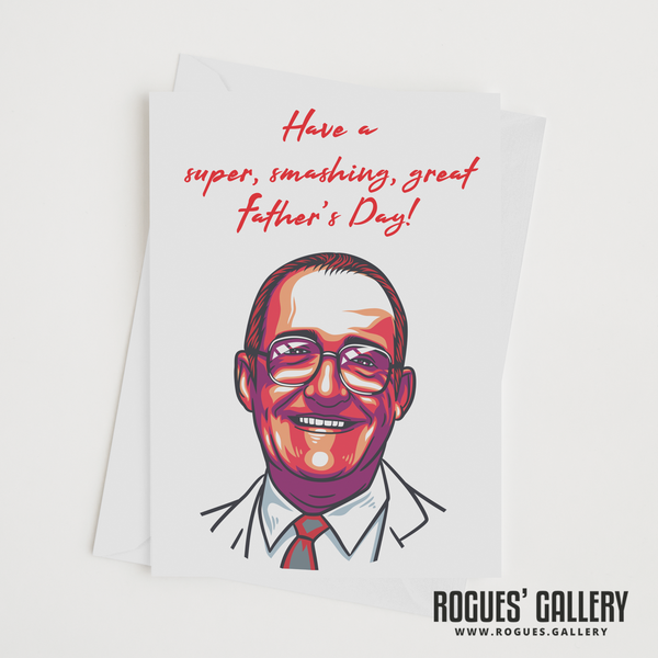 Jim Bowen Dart TV Bullseye gameshow Tony ITV retro Father's Day Card
