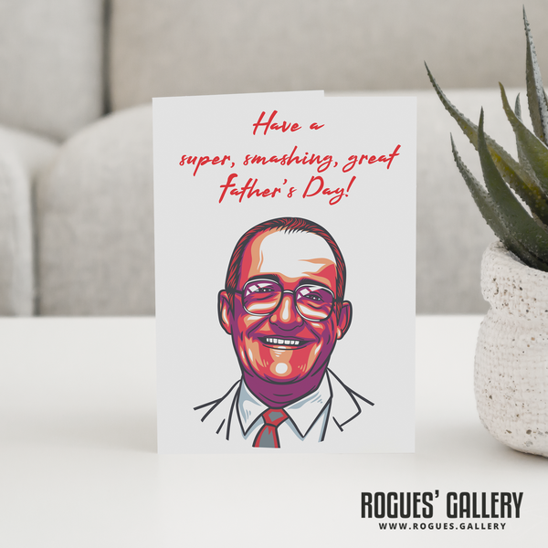 Jim Bowen Dart TV Bullseye gameshow Tony ITV retro Father's Day Card 180 Bully