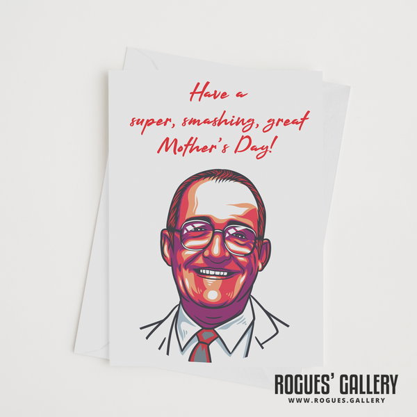 Jim Bowen Dart TV Bullseye gameshow Tony ITV retro Mother's Day Card