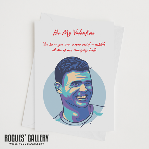 Jimmy Anderson England Cricket Valentine's Day Card swinging balls