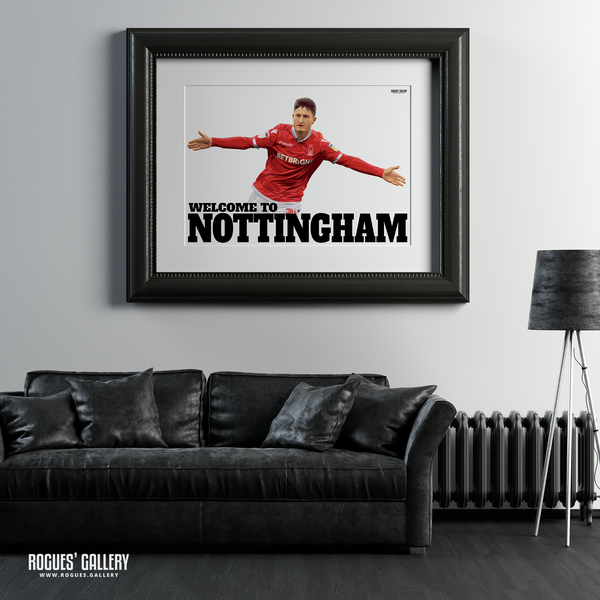 Joe Lolley Nottingham Forest Winger Welcome to Nottingham A1 art print goal celebration