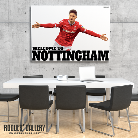 Joe Lolley Nottingham Forest Winger Welcome to Nottingham A1 art print ltd edition